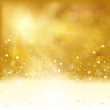 Golden Christmas background with lights and snowflakes Royalty Free Stock Photo