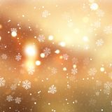 Golden Christmas background with snowflakes. And bokeh lights design royalty free illustration
