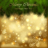 Golden Christmas background with spruce branches. Illustration Royalty Free Stock Image