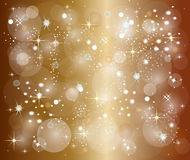 Golden christmas background with stars Royalty Free Stock Image