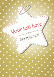 GOLDEN CHRISTMAS BACKGROUND WITH STARS. Golden stars pattern with a star label hooked Stock Photography