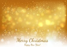 Golden Christmas background with Text Merry Christmas and Happy royalty free illustration