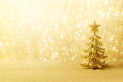 Golden Christmas background with tree ornament Royalty Free Stock Image