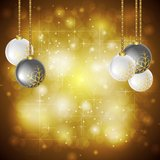 Golden Christmas background. Vector illustration Stock Photo