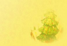 Golden Christmas Background With Tree Royalty Free Stock Image