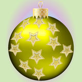 Golden Christmas bal. L with stars ornament Stock Photography