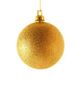 Golden christmas ball. Isolated over white background royalty free stock photo