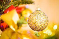 Golden Christmas ball Royalty Free Stock Photos