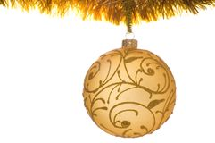 Golden christmas ball. Isolated on a white background Royalty Free Stock Image