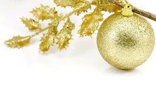 Golden Christmas ball. On white background Royalty Free Stock Photos