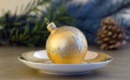 Golden Christmas ball Stock Photography