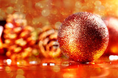 Golden christmas ball on abstract background Stock Photo