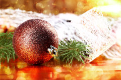 Golden christmas ball on abstract background Royalty Free Stock Photo