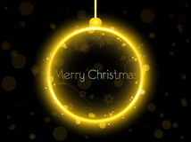 Golden Christmas Ball on Black Background Royalty Free Stock Image