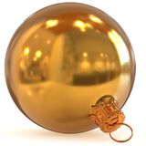 Golden Christmas ball decoration closeup New Year bauble Royalty Free Stock Images