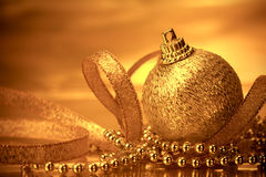 Golden christmas ball decorations for celebration background Stock Photo