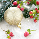 Golden christmas ball and fi Stock Photo