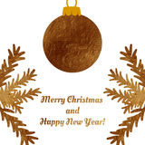 Golden Christmas ball on a greeting card . Stock Photography