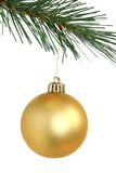 Golden christmas ball hanging from Christmas tree. Isolated on white background Royalty Free Stock Photos