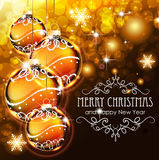 Golden Christmas ball on a holiday background Stock Images