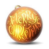 Golden Christmas ball with the inscription Merry Christmas. High vector illustration