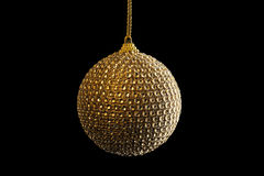 Golden Christmas Ball, isolated on black Royalty Free Stock Images
