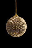 Golden Christmas Ball, isolated on black stock images