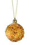 Golden christmas ball. Isolated on a white background Royalty Free Stock Photo