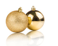 Golden christmas ball for ornament isolated. Golden christmas ball for ornamental christmas, isolated on white background Royalty Free Stock Photos