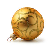 Golden Christmas ball with ornament Royalty Free Stock Image