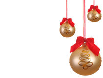 Golden Christmas ball with ribbons. Set of Yellow Christmas ball with ribbons isolated on white Stock Photos
