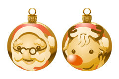 Golden Christmas ball of Santa Claus and reindeer Royalty Free Stock Image