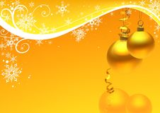 Golden christmas ball and snow floral Stock Image