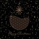 Golden christmas ball with snow. Vector background with golden christmas ball with snow Stock Image