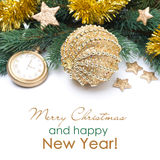 Golden Christmas ball and spruce branches, selective focus Royalty Free Stock Images