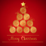 Golden christmas ball tree Royalty Free Stock Photography