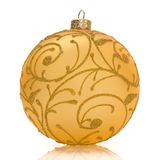 Golden christmas ball on white. Background Stock Photography