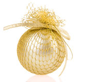 Golden Christmas ball on white background Stock Photography