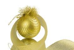 Golden Christmas ball on white background Stock Images