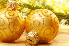 Golden christmas balls Royalty Free Stock Photography