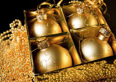 Golden christmas balls Royalty Free Stock Photo