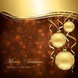 Golden Christmas balls Stock Photos