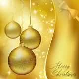 Golden Christmas balls. On abstract gold background. Vector eps10 illustration Stock Photos