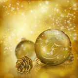 Golden Christmas balls. On abstract gold background. Xmas greeting card. Vector eps10 illustration Stock Image