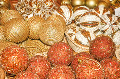 Golden Christmas balls. Royalty Free Stock Photo