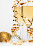 Golden Christmas balls and champagne Royalty Free Stock Photo
