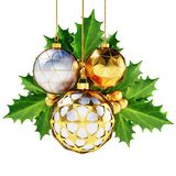 Golden christmas balls with cherry leaves. royalty free stock photo