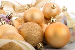 Golden christmas balls Stock Photo