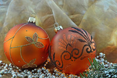 Golden Christmas balls - closeup royalty free stock photo