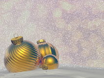 Golden Christmas balls - 3D render Stock Photo
